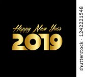 happy new year 2019 template... | Shutterstock .eps vector #1242221548