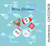 christmas card  santa snowman... | Shutterstock .eps vector #1242225628