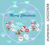 christmas card  santa snowman... | Shutterstock .eps vector #1242225658