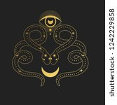 two snakes with moon. vector... | Shutterstock .eps vector #1242229858