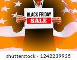 businessman hands holding black ... | Shutterstock . vector #1242239935