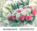 bouquet of red and white... | Shutterstock . vector #1242242152