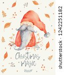 christmas greeting card with... | Shutterstock . vector #1242251182