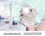 circular futuristic interface... | Shutterstock . vector #1242257335