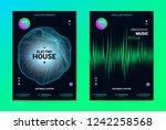 techno music poster. wave flyer ... | Shutterstock .eps vector #1242258568