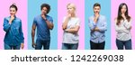 collage of group of young... | Shutterstock . vector #1242269038