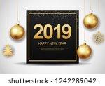 happy new year 2019.vector... | Shutterstock .eps vector #1242289042