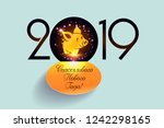 chinese 2019 happy new year of... | Shutterstock .eps vector #1242298165