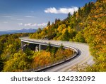 Blue Ridge Parkway Linn Cove Viaduct North Carolina Appalachian Landscape scenic travel photography in autumn - stock photo