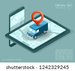 isometry city map navigation... | Shutterstock . vector #1242329245