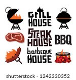 stake grill barbecue logo | Shutterstock .eps vector #1242330352