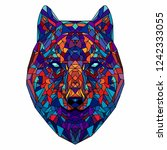 wolf head. low poly design... | Shutterstock .eps vector #1242333055