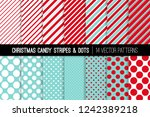 christmas aqua blue  red and... | Shutterstock .eps vector #1242389218