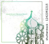hand drawn mosque sketch... | Shutterstock .eps vector #1242392215