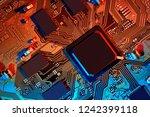 electronic circuit board close... | Shutterstock . vector #1242399118