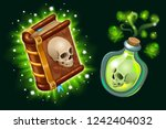 Isometric book of magic spells and witchcraft for computer game decorated skull in cartoon style. Magical poison elixir. Vector illustration.