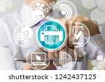 businessman touch a screen...   Shutterstock . vector #1242437125