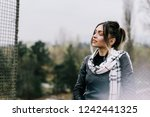 woman holding eyes closed and... | Shutterstock . vector #1242441325