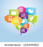 communication icons over blue... | Shutterstock .eps vector #124244302