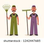 cute worker with rake. cartoon... | Shutterstock .eps vector #1242447685