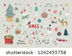 christmas objects illustrations ... | Shutterstock . vector #1242455758