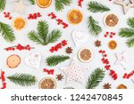 christmas composition. gifts ... | Shutterstock . vector #1242470845