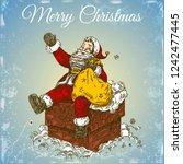 vintage color card. santa claus ... | Shutterstock .eps vector #1242477445