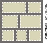 set of blank postage stamps of... | Shutterstock .eps vector #1242483982