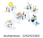 flat isometric vector business... | Shutterstock .eps vector #1242521365
