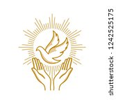 church logo. christian symbols. ... | Shutterstock .eps vector #1242525175