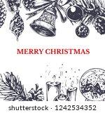merry christmas vintage gift... | Shutterstock .eps vector #1242534352
