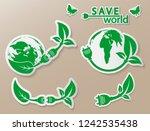 power plug green ecology emblem ... | Shutterstock .eps vector #1242535438