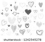 hand drawn hearts on white... | Shutterstock .eps vector #1242545278