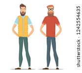 funny bearded hipsters isolated ... | Shutterstock . vector #1242554635