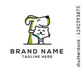 Stock vector creative logo design concept dog and cat vector template 1242593875