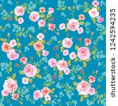 roses blue seamless pattern | Shutterstock .eps vector #1242594235