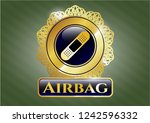 gold emblem or badge with... | Shutterstock .eps vector #1242596332