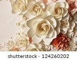 Stock photo white and orange roses made of paper 124260202