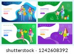 shopping family with children... | Shutterstock .eps vector #1242608392
