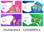 shopping ladies  family of... | Shutterstock .eps vector #1242608512