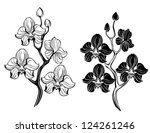 two artistically painted  black ...   Shutterstock .eps vector #124261246
