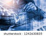 double exposure businessman and ... | Shutterstock . vector #1242630835