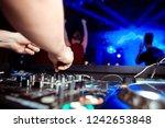 dj turntable console mixer... | Shutterstock . vector #1242653848