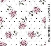 vintage chrysanthemum polka dot ...   Shutterstock .eps vector #1242690685