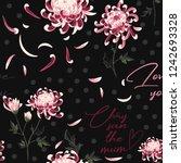chrysanthemum and polka dot...   Shutterstock .eps vector #1242693328