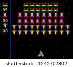 cosmic invaders game. pixel... | Shutterstock .eps vector #1242702802