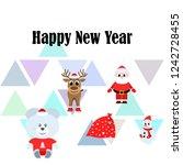 christmas card  santa snowman... | Shutterstock .eps vector #1242728455