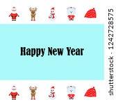 christmas card  santa snowman...   Shutterstock .eps vector #1242728575