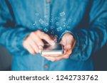 businessman using mobile online ... | Shutterstock . vector #1242733762