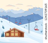 ski resort with chair lift ... | Shutterstock .eps vector #1242739165